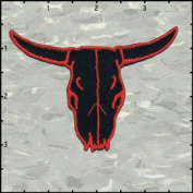 Cow Skull Frontal Red On Black Embroidered Iron On Applique Patch FD