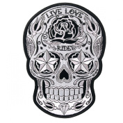 Sugar Skull Live Love Ride Awesome [13cm ] Embroidered Biker Patch