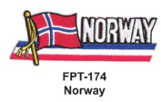 2.5cm - 1.3cm X 10cm - 1.3cm Flag Embroidered Patch Norway