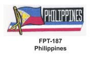 2.5cm - 1.3cm X 10cm - 1.3cm Flag Embroidered Patch Philippines