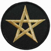 7.6cm Pentagram Satan Star Embroidered Iron On Applique Patch FD - Gold