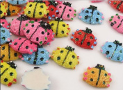50pcs Mixed Resin Flatback Shiny Ladybug Appliques/craft Diy Wedding Kid