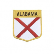 Alabama USA State Shield Flag Iron on Patch Crest Badge .. 7.6cm X 8.9cm ... New