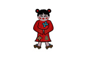 Asian Girl Doll Chinese China Embroidered Iron On Badge Applique Patch FD