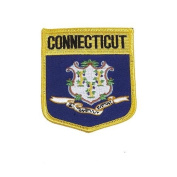 Connecticut USA State Shield Flag Iron on Patch Crest Badge .. 7.6cm X 8.9cm ... New