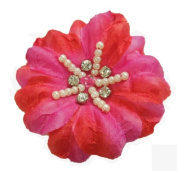 Cuteque International Soft Silk Flower 6-Pack Rhinestone Embellishments, Azalea