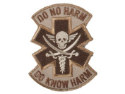 """Mil-Spec Monkey """"Do No Harm - Pirate hook and loop Patch - Desert"""