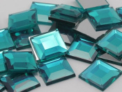 12mm Aqua .QR Flat Back Square Acrylic Jewels High Quality Pro Grade - 40 Pieces