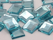 12mm Aqua Lite .QR120 Flat Back Square Acrylic Jewels High Quality Pro Grade - 40 Pieces