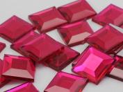 12mm Fuchsia .MAR09 Flat Back Square Acrylic Jewels High Quality Pro Grade - 40 Pieces