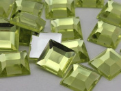 12mm Jonquil .JQ26 Flat Back Square Acrylic Jewels High Quality Pro Grade - 40 Pieces