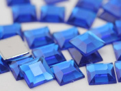 12mm Sapphire .PH Flat Back Square Acrylic Jewels High Quality Pro Grade - 40 Pieces