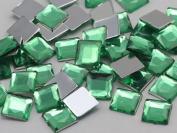 8mm Peridot H110 Flat Back Square Acrylic Jewels High Quality Pro Grade - 75 Pieces