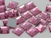 8mm Rose Lite .RS72 Flat Back Square Acrylic Jewels High Quality Pro Grade - 75 Pieces