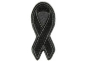 BLACK 7.6cm RIBBON Mourning In Memorial Melonoma NEW Awareness Biker Patch PAT-2912