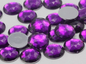 18mm Amethyst A06 Flat Back Round Acrylic Jewels High Quality Pro Grade - 30 Pieces