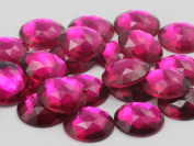 18mm Fuchsia A27 Flat Back Round Acrylic Jewels High Quality Pro Grade - 30 Pieces