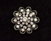 35mm Rhinestone Flower Button By Shine Trim