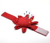 Housweety Red Sunflower Sewing Needle Pin Cushions Wrist Strap, 3 Pcs, White Dots
