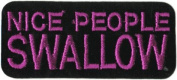 Nice People Swallow - Purple On Black - Embroidered Iron On Or Sew On Patch