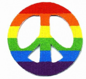 Embroidered Iron On Patch - Rainbow Peace Sign Patch 7.6cm Patch