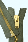 90cm Chaps Zipper YKK #10 Brass ~ Separating ~ 567 Olive Green