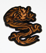 Brown Dragon Embroidered Iron on / Sew on Patches
