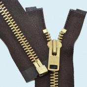 90cm Chaps Zipper YKK #10 Brass ~ Separating ~ 570 Brown