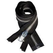 90cm Chaps Zipper YKK #10 Aluminium ~ Separating ~ Black