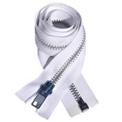 90cm Chaps Zipper YKK #10 Aluminium ~ Separating ~ White