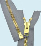 90cm Chaps Zipper YKK #10 Brass ~ Separating ~ 578 Medium Grey