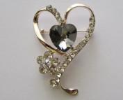 Dainty Rhinestone Heart Brooch Pin --- Black