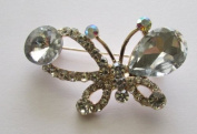 Delicate Rinestone Butterfly Brooch Pin --- Crystal Clear