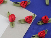 3cm Small Fabric Rose Floral Embellishments For Scrapbooking - 40 Pieces