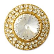 18mm Round Rhinestone Button with Shank, Crystal/Gold by each