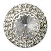 18mm Round Rhinestone Button with Shank, Crystal/Silver by each