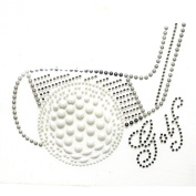 Rhinestone Iron on Transfer Hot Fix Motif Crystal Fashion Design Golf 3 Sheets 5.6* 9.9cm