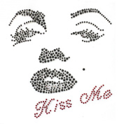 Rhinestone Iron on Transfer Hot Fix Motif Crystal Fashion Design Kissing Woman 3 Sheets 5.4*14cm