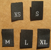 500 pcs WOVEN CLOTHING LABELS SIZE TAGS BLACK - XS S M L XL