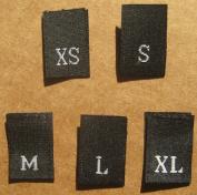 500 pcs WOVEN CLOTHING LABELS SIZE TAGS BLACK - XS S M L XL