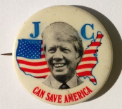"1976 Jimmy Carter ""JC CAN SAVE AMERICA"" Political Pin Back Button"