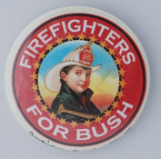 "2004 GEORGE BUSH ""FIREFIGHTERS FOR BUSH"" Political Pin Back Button"