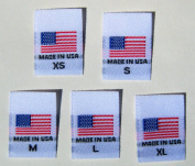 500 PCS WHITE WOVEN CLOTHING SEWING LABELS, MADE IN U.S.A. AMERICAN FLAG - XS, S, M, L, XL