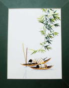 Hand Embroidered Painting - Boats and Bamboo - Made in Vietnam - SEP37