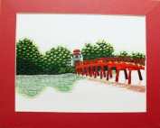 Hand Embroidered Painting - Red Bridge- Made in Vietnam - SEP14