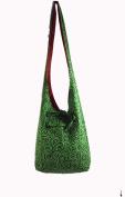 Rare Asian Hippie Hobo Cotton Sling Cross-body Handmade Green & Red Bag Shoulder Purse