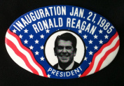 RONALD REAGAN Political Litho Pin Back INAUGURATION JAN. 21, 1985 Button