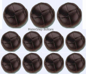 Brown Real Leather Buttons Set- 11 Pieces