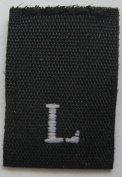 1000 pcs WOVEN CLOTHING LABELS SIZE TAGS BLACK -SIZE LARGE - L