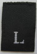1000 pcs WOVEN CLOTHING LABELS SIZE TAGS BLACK -SIZE LARGE - L